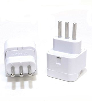 Universal Grounded Travel Plug Adapter For Italy, Uruguay (Type L)