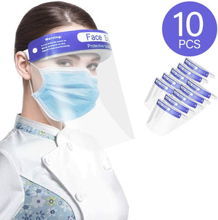 Safety Face Shield with Elastic Headband- 10 Pack