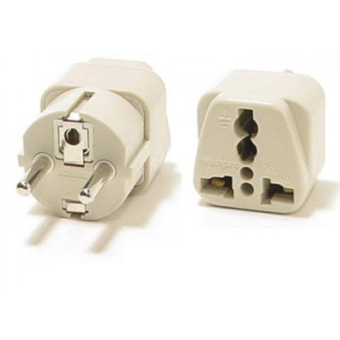 Universal Grounded Travel Plug Adapter For Europe (Schuko Type E/F) - Popularelectronics.com
