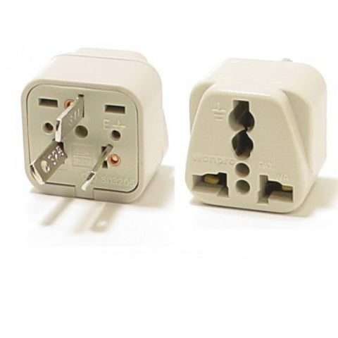 Universal Grounded Travel Plug Adapter For Australia, China, Argentina, New Zealand (Type I) - Popularelectronics.com