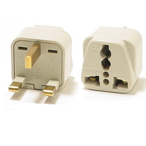 Universal Grounded Travel Plug Adapter For UK/England, Ireland, Iraq (Type G) - Popularelectronics.com