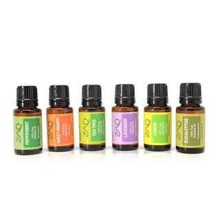 ZAQ 100% Pure Essential Aromatherapy Oils Gift Set-6 Pack , 15ML (Eucalyptus, Lavender, Lemon, Orange, Peppermint, Tea Tree) - Popularelectronics.com