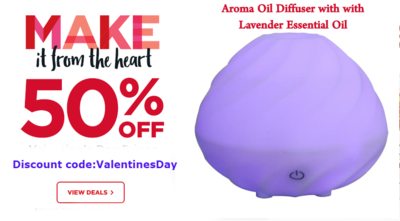 50% off on ZAQ Swirl Aromatherapy Essential Oil Diffuser with Lavender Essential Oil, use discount Code: ValentinesDay