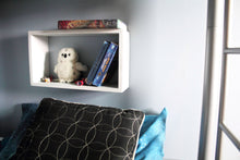 JTWoodworks white wood cube shelf helps you organize your home. White, wood, painted cube shelf organizer.