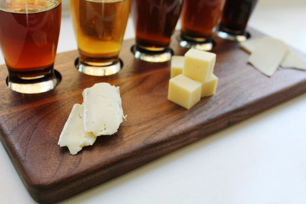 Beverage, Cheese and Charcuterie Sampling Board - With 5 Sampling Glasses