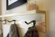 "Three Hook Coat Rack with Shelf - 24"" Wood Stained"