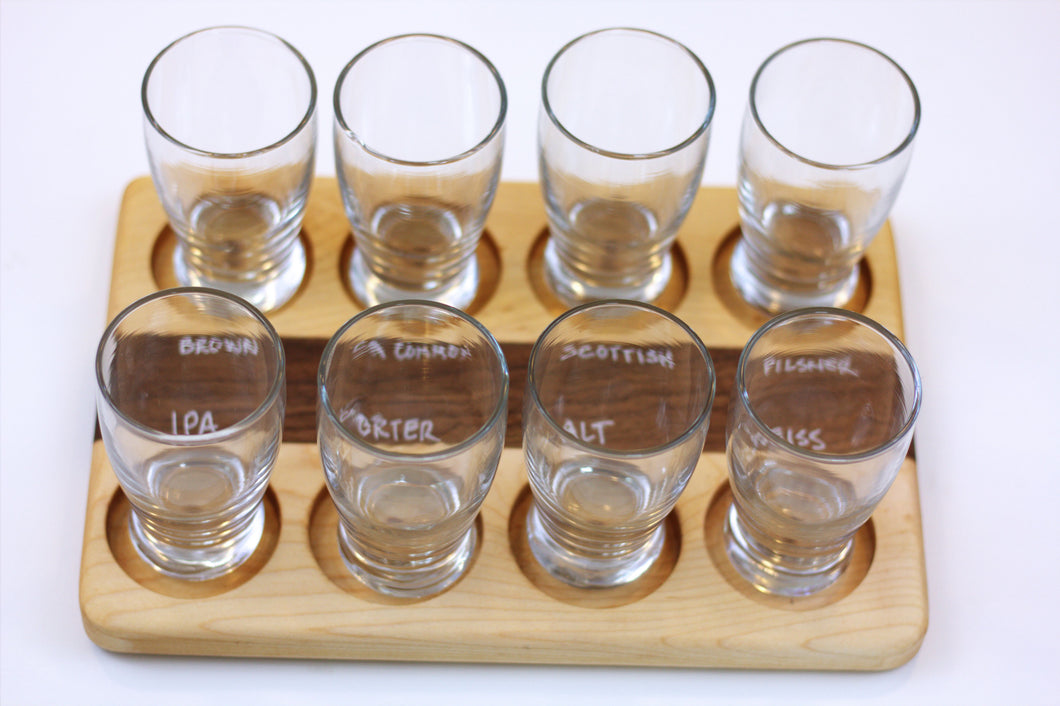 JTWoodworks beer tasting board with glasses, chalkboard organizer will accommodate eight of your favorite beverages or foods to sample with friends.