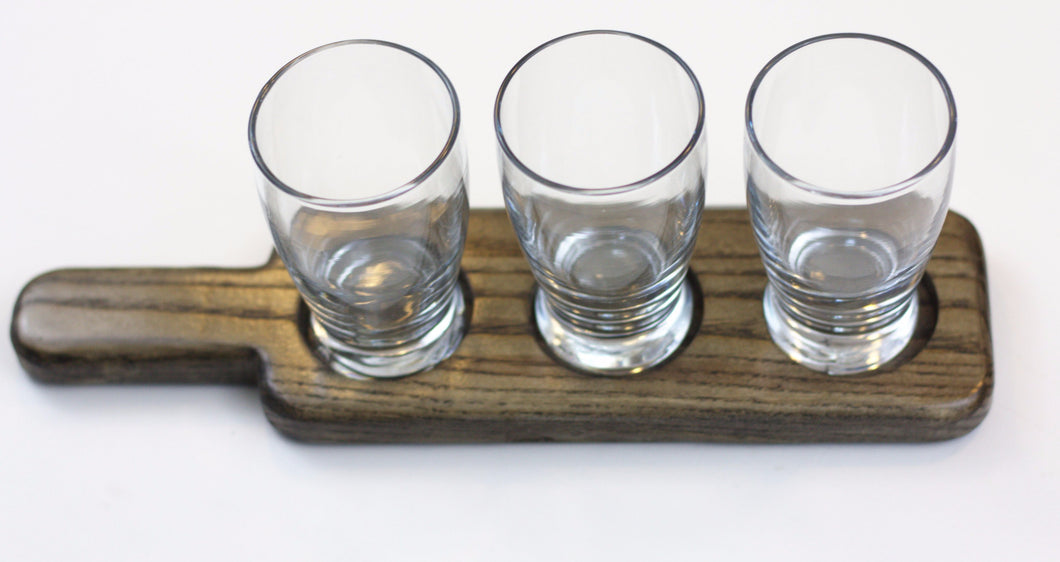 Beverage Flight and Serving Paddle - Three Wells