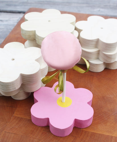 JTWoodworks flower-shaped cake pop stands, birthday party, bridal shower, baby shower, Easter, dessert display wooden stand.
