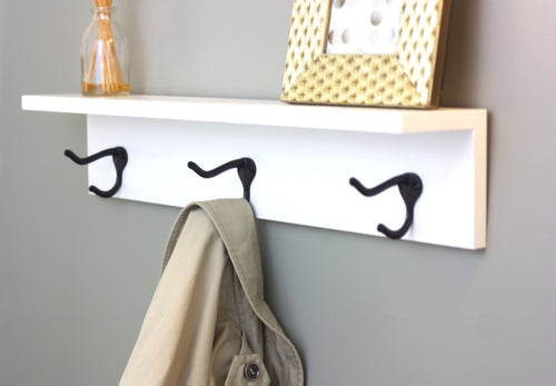 Three Hook Coat Rack with Shelf - 24