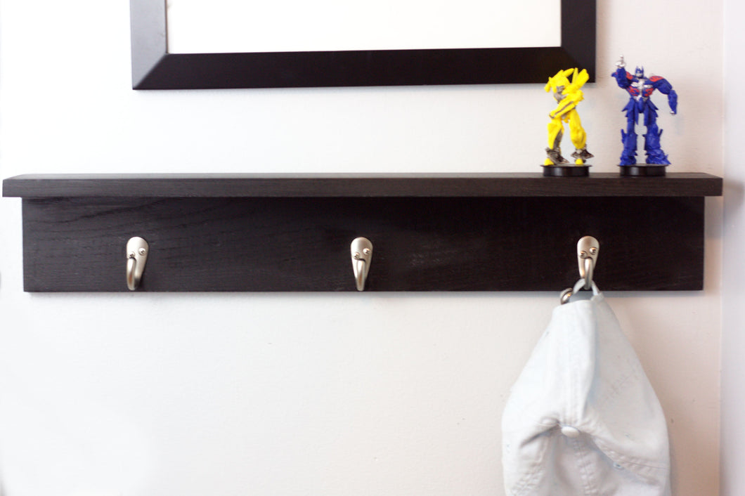 Three Hook Coat Rack with Shelf - 20