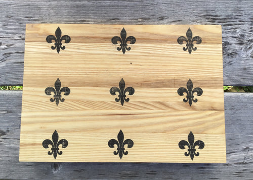 Cutting Board - Fleur de Lis on Solid Ash