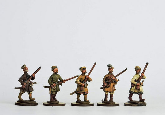 COS01 Cossack Musketeers Advancing - Warfare Miniatures USA