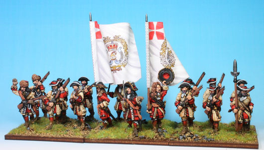 B014 Advancing with Grenadiers in Fur Caps (no pikes) - Warfare Miniatures USA