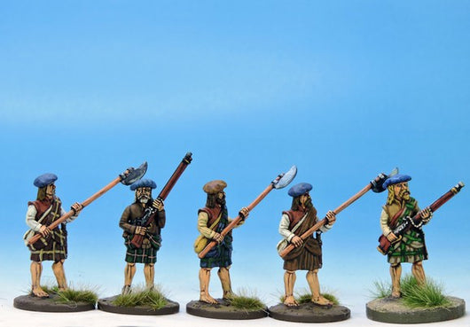 H004 Highlanders at the Ready with Mixed Weapons - Warfare Miniatures USA