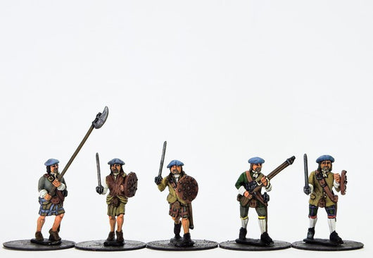 H006 Highlanders Attacking with Mixed Weapons - Warfare Miniatures USA