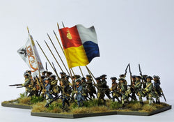 SB05 Swedish Battalion in Tricorn Attacking - Warfare Miniatures USA