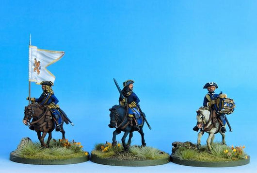 SC08 Swedish Dragoon Command at the Ready - Warfare Miniatures USA