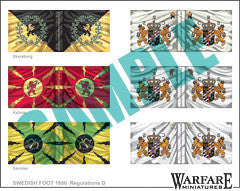 SIF004 Swedish Infantry Flags for Poltava - Warfare Miniatures USA