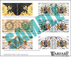 SIF008 Swedish Infantry Flags for Poltava - Warfare Miniatures USA