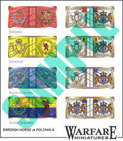 SCF001 Swedish Cavalry flags for Poltava - Warfare Miniatures USA