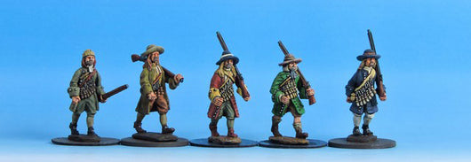 V01 Civilians with Matchlocks in Coats - Warfare Miniatures USA
