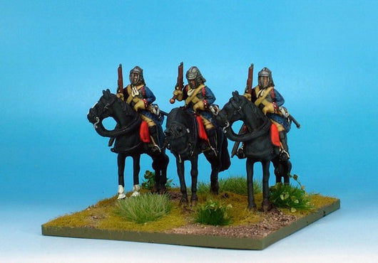 WLOA35a Cuirassiers in English Helmets on Standing Horses - Warfare Miniatures USA