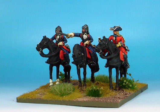 WLOA36a Cuirassiers Command in English Helmets on Standing Horses - Warfare Miniatures USA