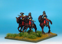 WLOA36b Cuirassiers Command in English Helmets on Galloping Horses - Warfare Miniatures USA
