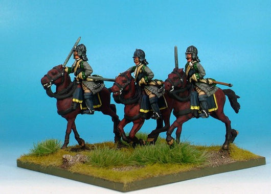WLOA37b Cuirassiers in German Helmets on Galloping Horses - Warfare Miniatures USA