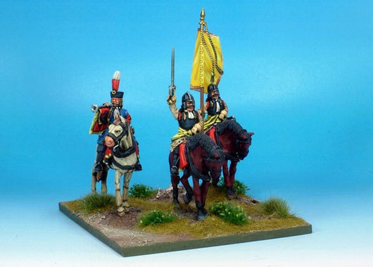 WLOA38a Cuirassiers Command in German Helmets on Standing Horses - Warfare Miniatures USA