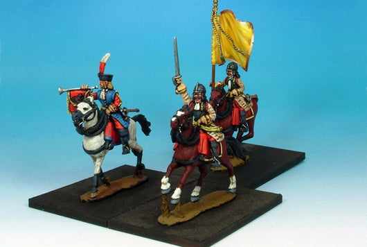 WLOA38b Cuirassiers Command in German Helmets on Galloping Horses - Warfare Miniatures USA