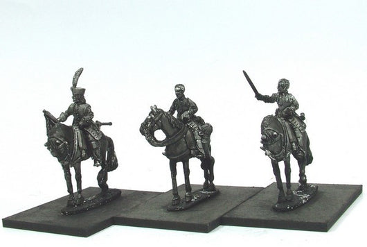 WLOA46a Cuirassiers Command, Bareheaded on Standing Horses - Warfare Miniatures USA