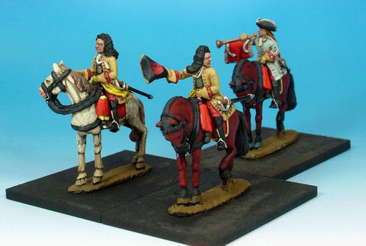 WLOA48a Cuirassiers Command Bearheaded, Cuirass Under Coat on Standing Horses