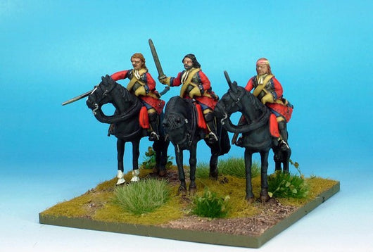 WLOA49a Cuirassiers, Bearheaded with Front Plate Only on Standing Horses - Warfare Miniatures USA