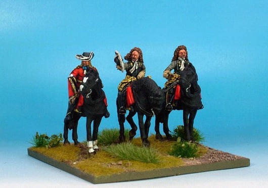 WLOA50a Cuirassiers Command Bearheaded, Front Plate Only on Standing Horses - Warfare Miniatures USA