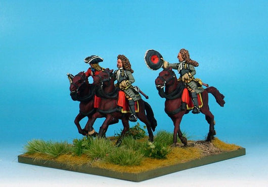 WLOA50b Cuirassiers Command Bearheaded, Front Plate Only on Galloping Horses - Warfare Miniatures USA