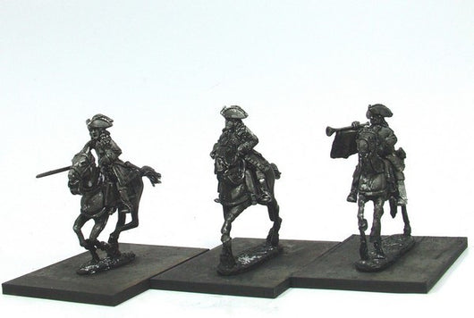 WLOA52b Cuirassiers Command in Tricorns on Galloping Horses - Warfare Miniatures USA