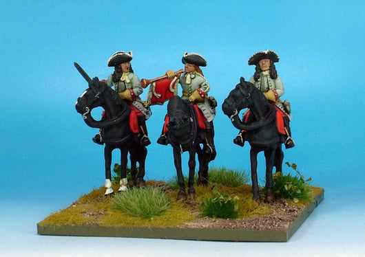 WLOA54b Cuirassiers Command in Tricorns, Cuirass Under Coat on Galloping Horses - Warfare Miniatures USA