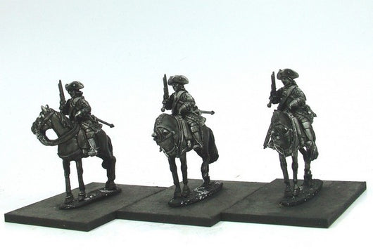 WLOA55a Cuirassiers in Tricorns, Front Plate Only on Standing Horses - Warfare Miniatures USA