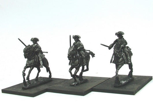 WLOA55b Cuirassiers in Tricorns, Front Plate Only on Galloping Horses - Warfare Miniatures USA