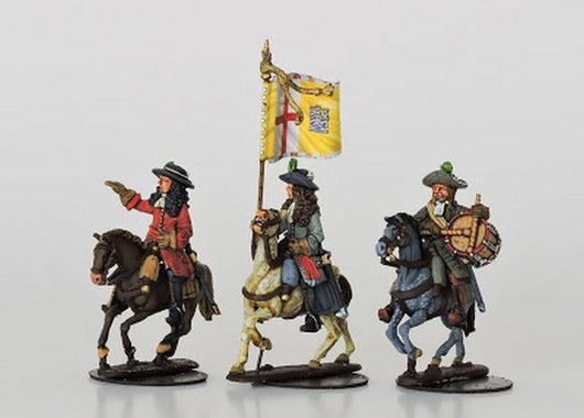 WLOA60 Mounted Dragoon Command in Hats - Warfare Miniatures USA