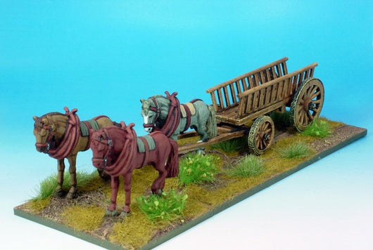 WLOA905 Wagon with Three Horses - Warfare Miniatures USA