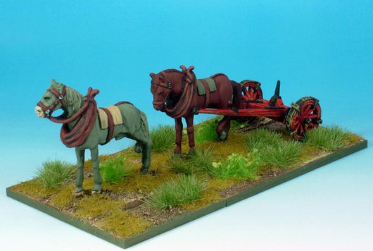 WLOA907 Two Horses with Limber - Warfare Miniatures USA