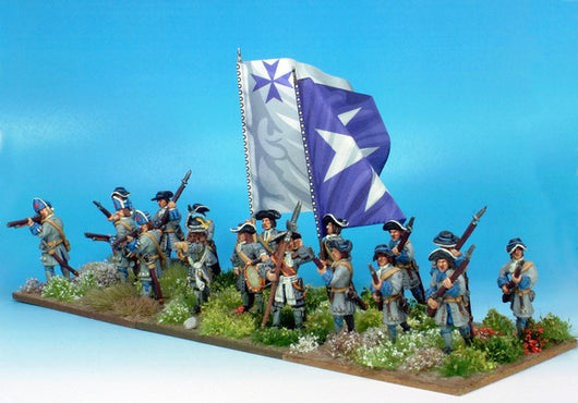 B012 Advancing with Grenadiers in Low Mitre (no pikes) - Warfare Miniatures USA