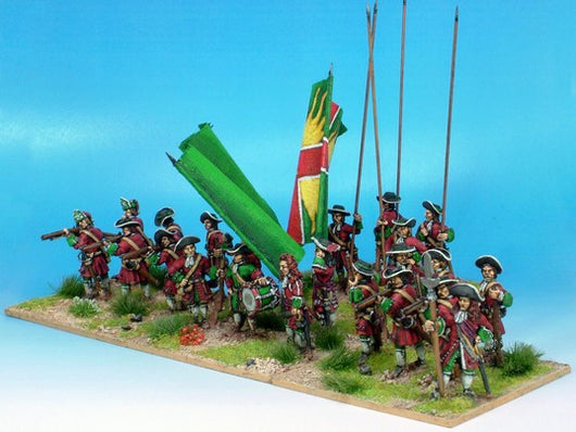 B001 Firing Line with Pikes and Grenadiers in Mitre Caps - Warfare Miniatures USA
