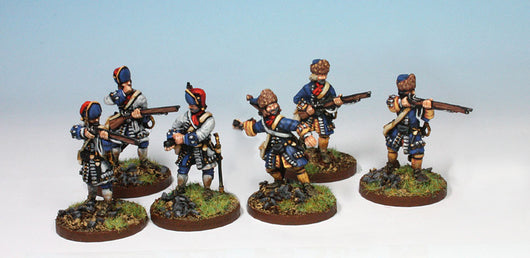 B018 Converged Grenadiers Firing in Mixed Caps - Warfare Miniatures USA
