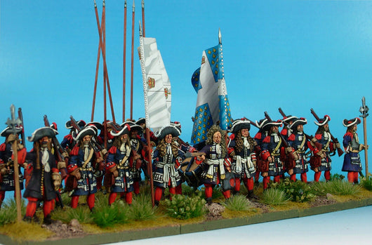 B025 Gardes Francaises/Suisses with Matchlock Muskets - Warfare Miniatures USA