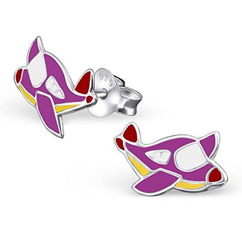 Children's Silver Airplane Ear Studs with Epoxy