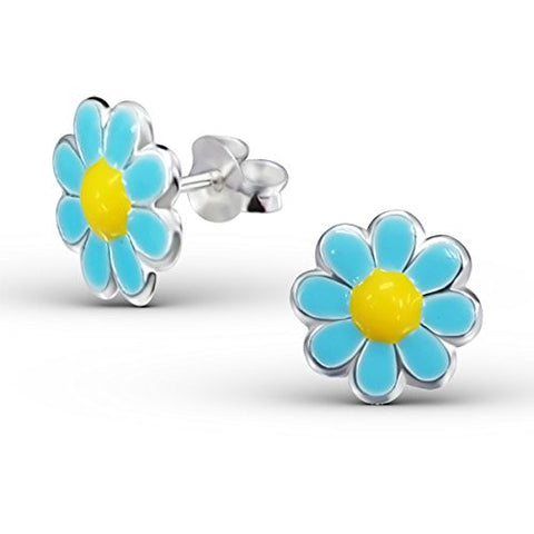 Children's Turquois and Yellow Flower Earrings - Silver Ear Studs with Epoxy